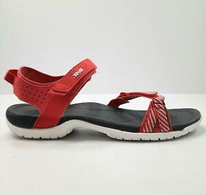 Teva Womens Sandal Size AU 11 EU 42 Red Stripe Trim Sport Sandals Athletic