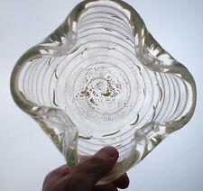 Vintage Murano BAROVIER & TOSO Zebrati White Gold Aventurine Ashtray Bowl Glass