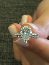3.00 Ct Pear Cut Diamond Bridal Set Engagement Wedding Ring 14K White Gold Over