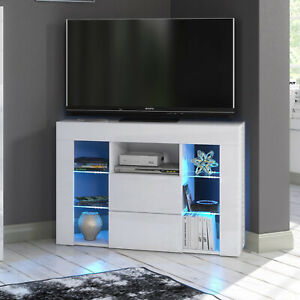 Cabinet Cupboard sideboard TV Unit Matt Body and High Gloss Door LED Light White