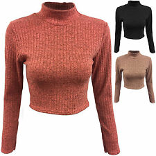 Women's Acrylic Blend Polo Neck Long Sleeve Jumpers & Cardigans