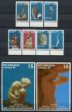 Nicaragua 1994 modernas esculturas arte 3477-3483 + bloque 234-235 ** mnh