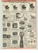 1922 PAPER AD Toy Drums Boy Scout Bass Drum Uncle Sam Tambourines Doll Buggy