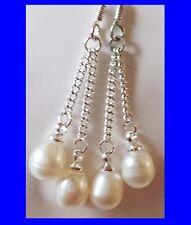 Freshwater white pearl handmade dangle earrings, sterling silver
