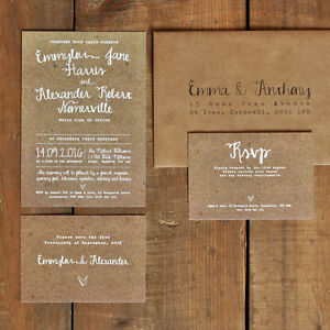 Personalised White Calligraphy Wedding Invitation Suite on Kraft Effect backing