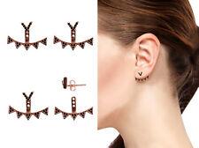 Black Chevron 925 Sterling Silver Rose Gold Ear Jacket Fashion Jewelry Earrings