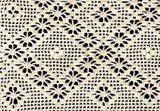 Crochet Curtain, Baby Blanket, Cradle Cover Vintage Filet Design Cotton Handmade