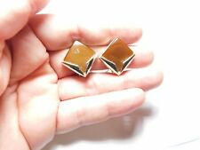 Vintage Signed Charel Gold Tone Metal Brown Lucite Moon Glow Clip On Earrings