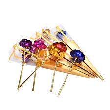 24K Dipped Gold Foil Rose Wedding Birthday Valentine's Day Lovers Gift+Box 5HUK