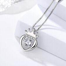Anhänger für Halskette Herz mit Krone echt Sterling Silber 925 Zirkonia Dancing
