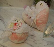 Shabby Chic pink toile strawbery,heart sachet~Pin cushion Pillow,HM.lace flowers