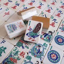Vtg 1920s, Thick Bone & Bamboo Mahjong Set Carved Box, Mah Jongg Flower Pot