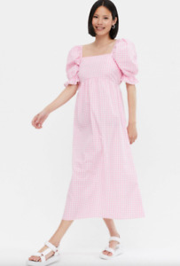WAREHOUSE  Pink Gingham Tie Back  Midi Dress Sizes  8 to 18