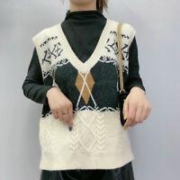 Boho Retro Preppy Knit w Cable Pattern Argyle Oversized Sweater Vest