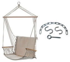 Beige Padded Hammock Chair with Armrests + Hanging Kit