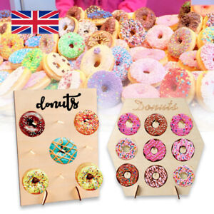 9 Donut Wall Stand Wooden Doughnut Sweet Candy Birthday Wedding Party Decor UK