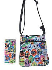 "Cross Body Bag & A Matching Wallet  ""MASCARAS DE PELEA"" Pattern, New, 2 items"