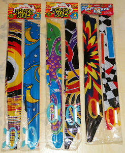 """LOT OF """"SIX"""" 1999 PLASTIC """"KRAZY KITES"""" COMPLETE READY TO FLY--FACTORY SEALED!!!"""