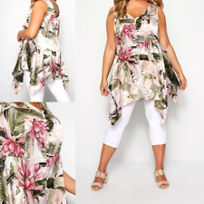 NEW RRP £21.99 Ex Yours Pink & Green Floral Satin Button Top