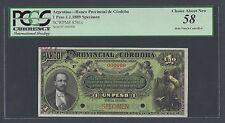 Argentina Banco Provincial De Cordoba , 1 Peso 1-1-1889, P S741s Specimen AUNC