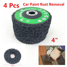 "4x 4"" Poly Strip Disc Car Paint Rust Removal Clean Grinder Wheel 46 Grit Black"