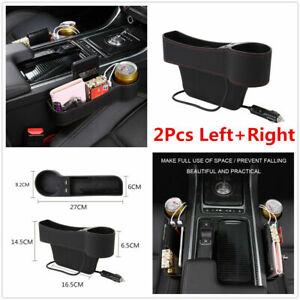 2Pcs PU Leather Car Seat Gap Storage Box Organizer Pocket Dual USB Cup Holder #