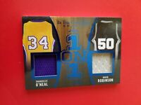 SHAQ SHAQUILLE O'NEAL DAVID ROBINSON GAME USED JERSEY CARD #8/30 LEAF ITG 1 ON 1