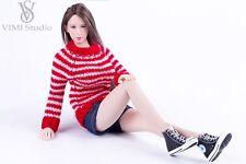 VIMI Studio 1/6 Red Sweater Jeans Shorts set Clothes F/Female Phicen Body VS033