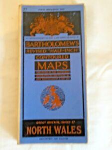 "Vintage Bartholemew's  Linen Map 1/2 "" North Wales  Sheet 27"