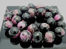 """Black Pink Fired Agate Faceted Beads High Quality 15mm Round Gemstone Std. 15.5"""""""
