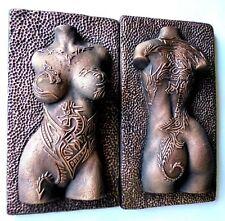 Dragon Tattoo Bronze Nude Erotic Female Torso Sculpture Wall Mount Art Decor