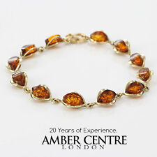 ITALIAN MADE BALTIC AMBER BRACELET IN 9CT GOLD -GBR051 RRP£450!!!