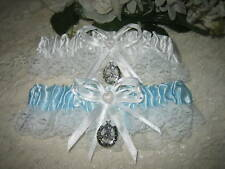 Wedding Party Ceremony Western  ~Horseshoe Boot~  Blue & White Garters 2 Piece