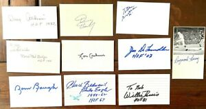 Lot of 10 Football Hall of Fame Autographed Index Cards,  7 are deceased