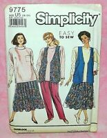 Uncut Simplicity Maternity Sz 16-24 Easy Pants Skirt Knit Top Vest Pattern 9775