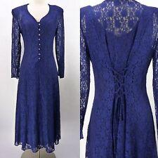 Vintage 90s Victorian Sheer All Lace Corset Back Grunge Jazz Dress w/Slip M