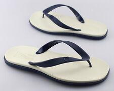 Men's SALVATORE FERRAGAMO 'Guinea' Navy Blue / Cream Synthetic Sandals Size US 9