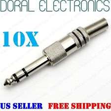 "10 pack 1/4"" 6.35mm male stereo audio cable jack connector plugs TRS 6.35 mm 1/4"