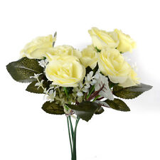 12Head Artificial Fake Rose Silk Flower Wedding Party Bridal Bouquet Yellow