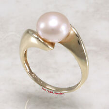 14k Solid Yellow Gold 9-9.5mm Romantic Pink Cultured Pearl Solitaire Ring TPJ