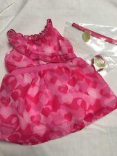 "American Girl Doll Clothes Red Hearts Ruffle Dress Bracelet Headband Set 18"""