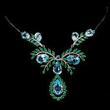 Topacio Azul Cielo Superior fascinante-Collar de plata esterlina 925 Aventurina Verde 17