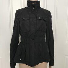 Zara Woman Military Style Black Nylon Rain Jacket Zip Hood Elastic Waist S