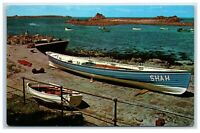 Postcard St Agnes Scilly Isles The Old Lifeboat Slip with one of the Pilot Gigs