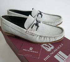 $450 New BRUNO MAGLI *TRILLO* Gray Suede Loafer Moccasins Slip-On Shoes 11M