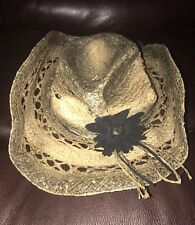 new PETER GRIMM Womens  Straw Hat Mallorie Natural Floral Brim Accent cowgirl