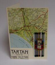 Handmade Card in Scotland: Vintage Map,Tweed,Tartan button Kilwinning Ayrshire