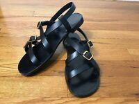 Saint Laurent Paris Black Leather Gold Belted Strappy Shoes Sandals 36.5