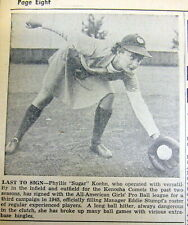 1945 newspaper w photo Koehn  ALL AMERICAN GIRLS PROFESSIONAL BASEBALL LEAGUE