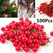 100Pcs Christmas Leaf Tree Red Artificial Cherry Holly Berry Branch Ornaments